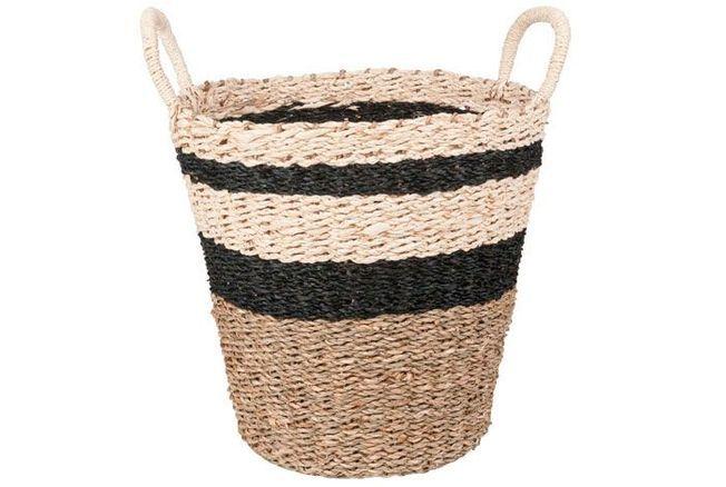 Corbeille en fibre de palmier, rayures noires, Maisons du Monde, 19,99 €