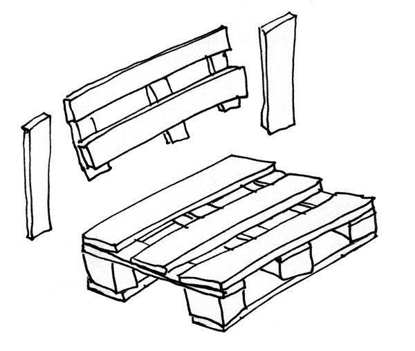 Le schéma d'un banc en palettes en bois.