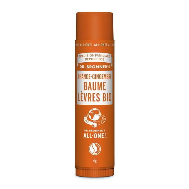 Le baume lèvres orange gingembre Dr Bronner's.