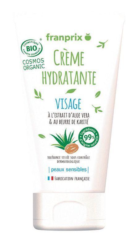 La crème hydratante visage bio Franprix.