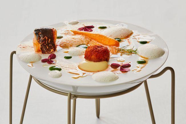 Un plat du restaurant La Plume de l'hôtel du Domaine des Vanneaux.
