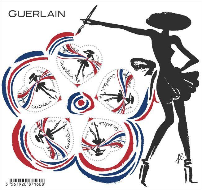 Le bloc de timbres Coeur de La Poste Guerlain.