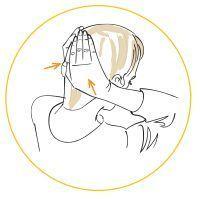 Massage du cuir chevelu avec les mains.