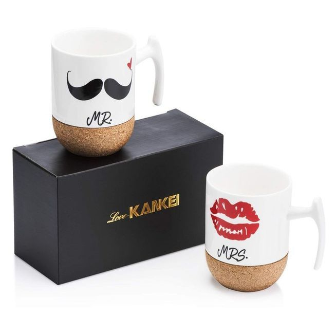 Les tasses mr et Mrs à moustache.