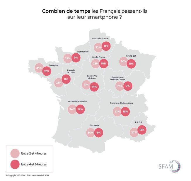 Les régions de France qui utilisent le plus leur téléphone portable.