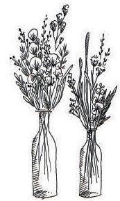 Le dessin de fleurs séchées en vase.