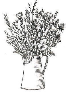 Un dessin de bouquet de fleurs dans un vase.