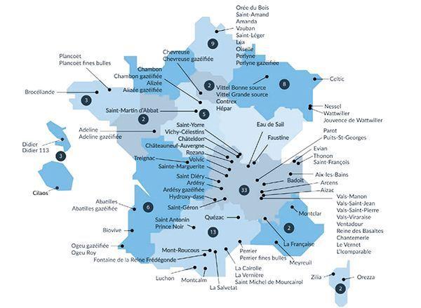 La carte des eaux minérales de France.