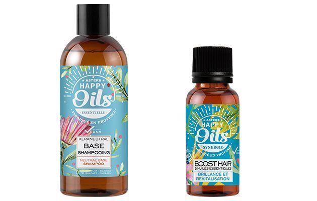Les soins sur-mesure Happy Oils pour les cheveux.