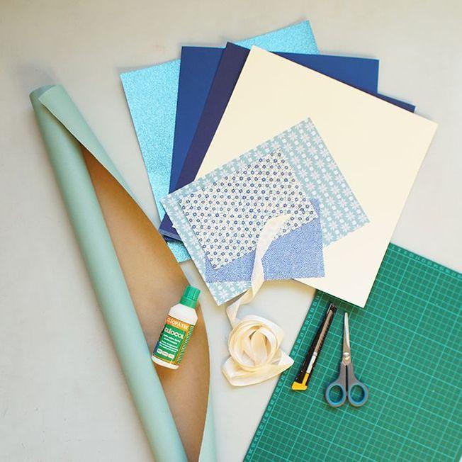 Les outils pour décorer un papier cadeau de façon originale.