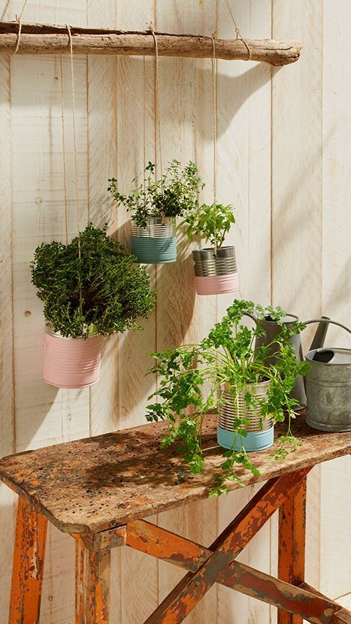 Un tuto déco pour recycler des boites de conserve en pots pour plantes.