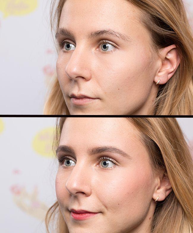 Le maquillage des sourcils avant-après.
