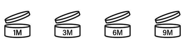 Le logo de date de péremption des produits de beauté.