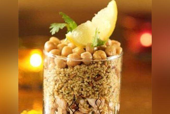 Salade de céréales méditerranéennes et poulet au cumin